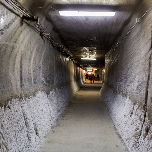 """Underground tunnel in a salt mine"" stock image"