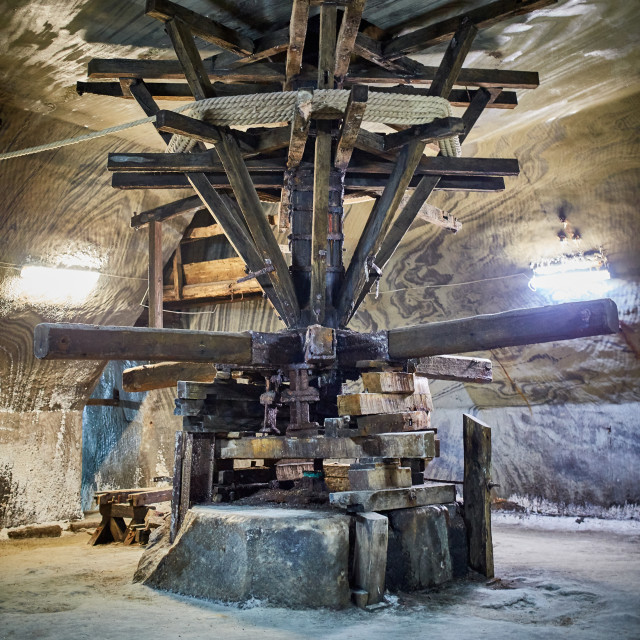 """Old extraction machinery in a salt mine"" stock image"
