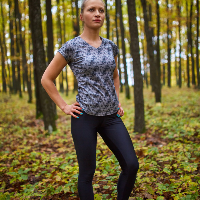 """Sportswoman ready for jogging"" stock image"