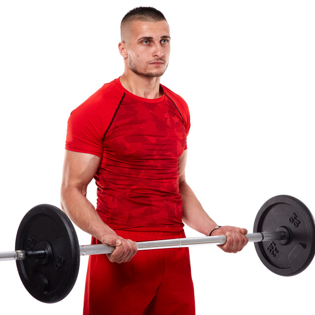"""""""Young man doing biceps workout"""" stock image"""