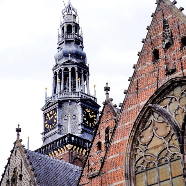 """Dutch church spire in Amsterdam"" stock image"