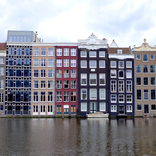 """""""a detail of the gable ends of dutch canal side houses in Amsterdam"""" stock image"""