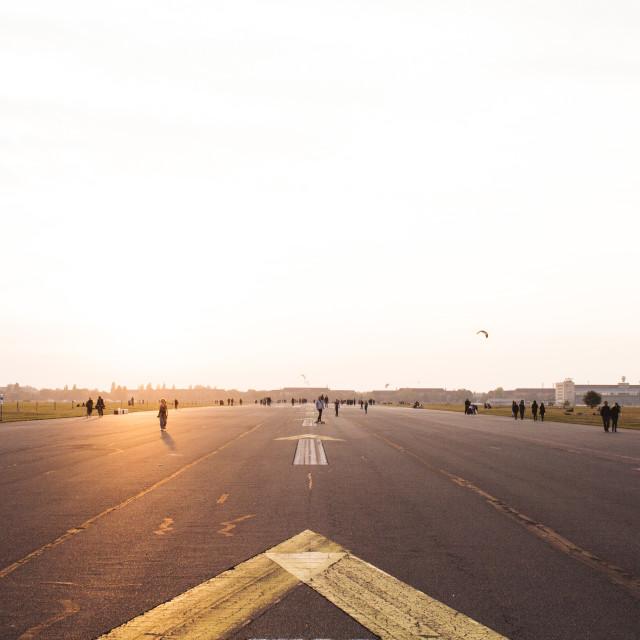 """""""Sunset at Tempelhofer Feld"""" stock image"""