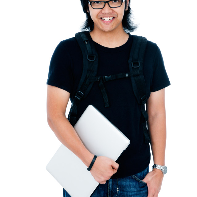"""""""Young Adult Man Holding Laptop Portrait"""" stock image"""