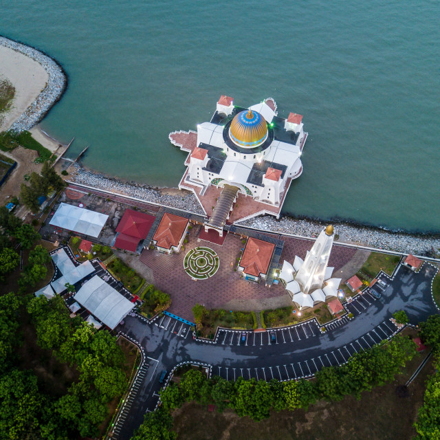 """""""Aerial Photo - Top Down view of a floating mosque, The Melaka St"""" stock image"""