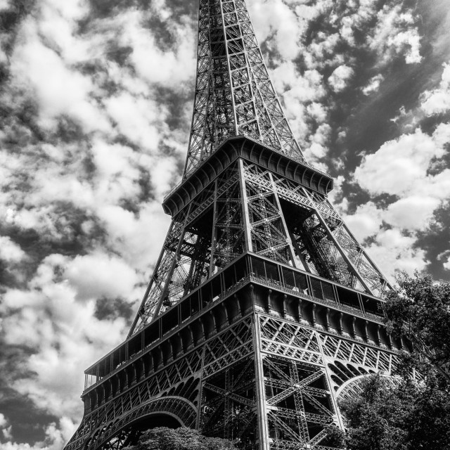 """""""Black & white - Eiffel Tower on a sunny day"""" stock image"""