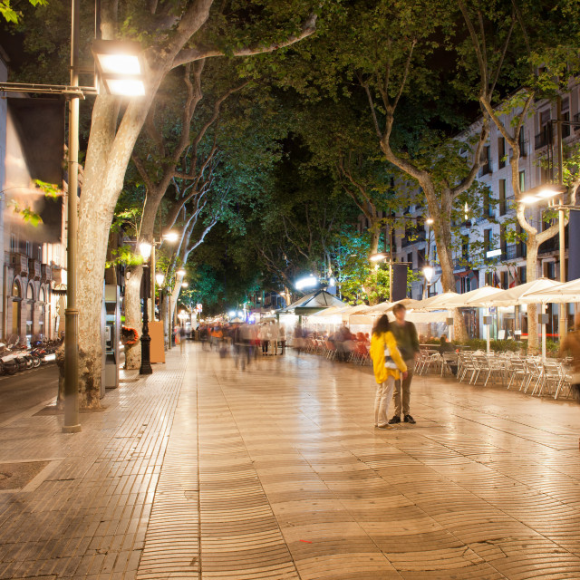 """La Rambla at Night in Barcelona"" stock image"