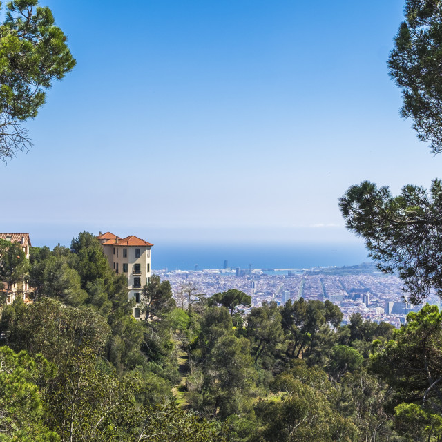 """Panoramic view of the Catalan capital from Tibidabo mountain"" stock image"