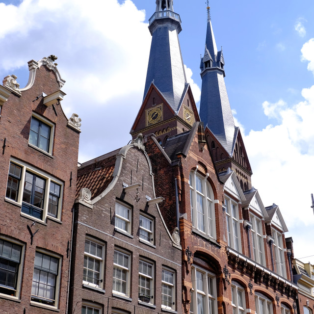 """""""canalside houses and church spire in amsterdam"""" stock image"""