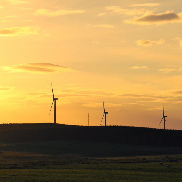 """Northumberland Windfarm at sunset"" stock image"