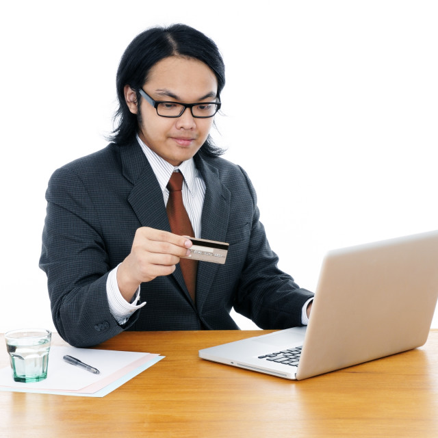 """""""Business Person Using Credit Card To Shop Online"""" stock image"""