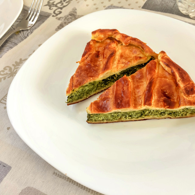 """""""Two slices of a tasty savory rustic pie"""" stock image"""