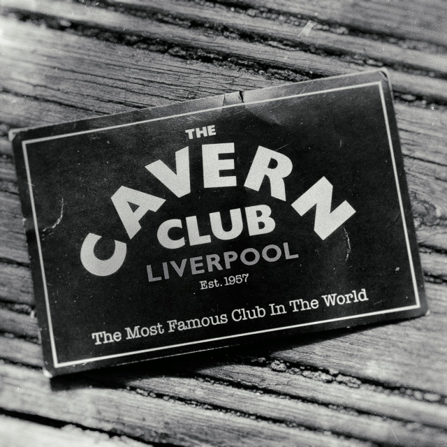 """""""A Flyer for The Cavern Club on Matthew Street, Liverpool"""" stock image"""