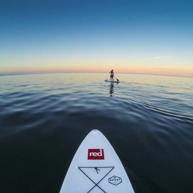 """Sunset Paddle boarding."" stock image"