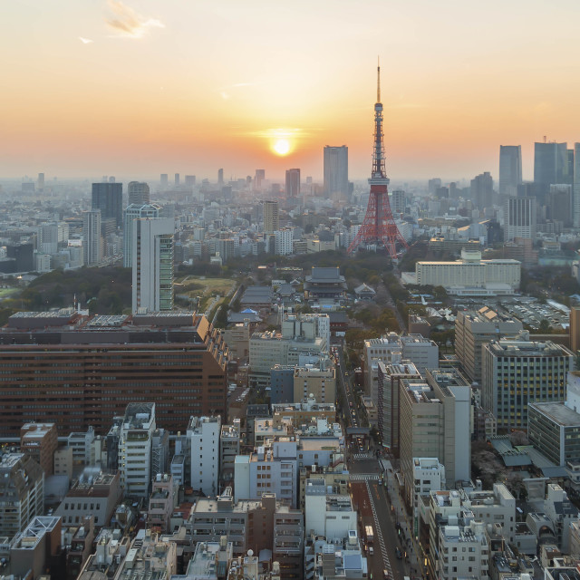 """Golden sunset at Tokyo city skyline, aerial view."" stock image"