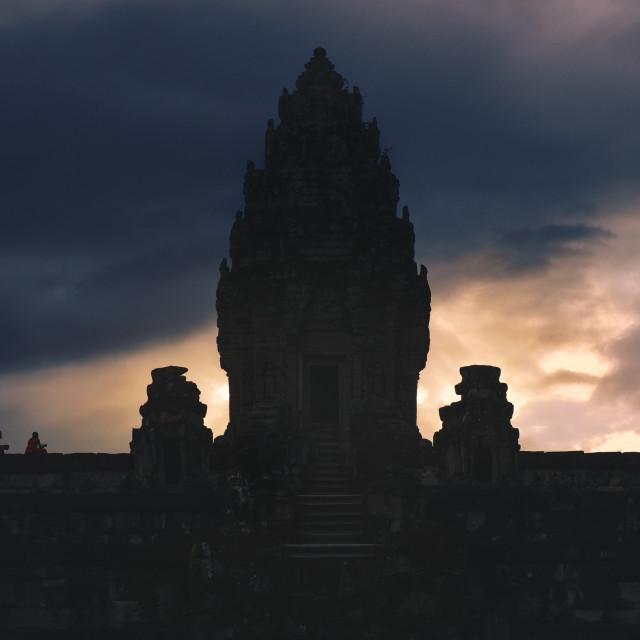 """Monks Pray at Bakong Temple"" stock image"