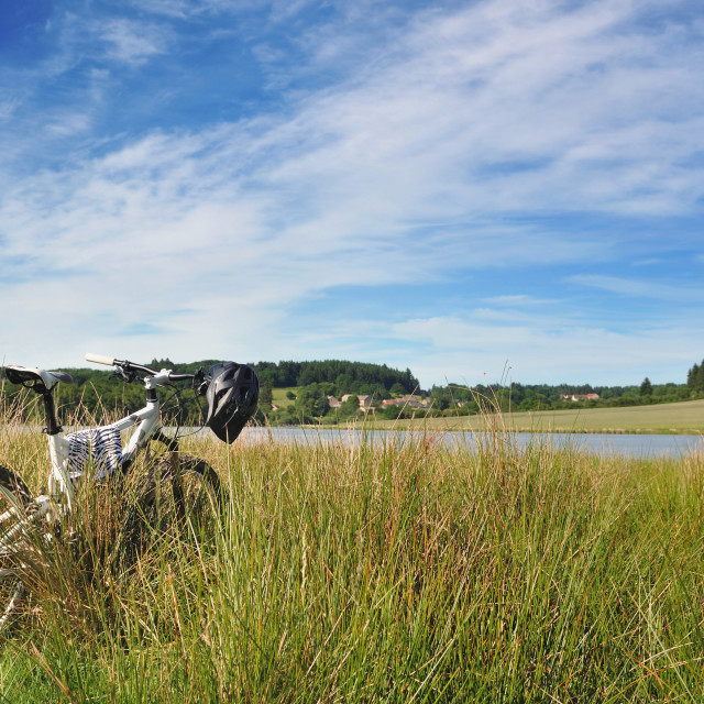"""mountain bike on the grass"" stock image"