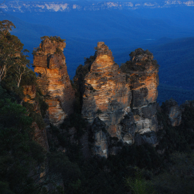 """Sunset at the the Three Sisters"" stock image"