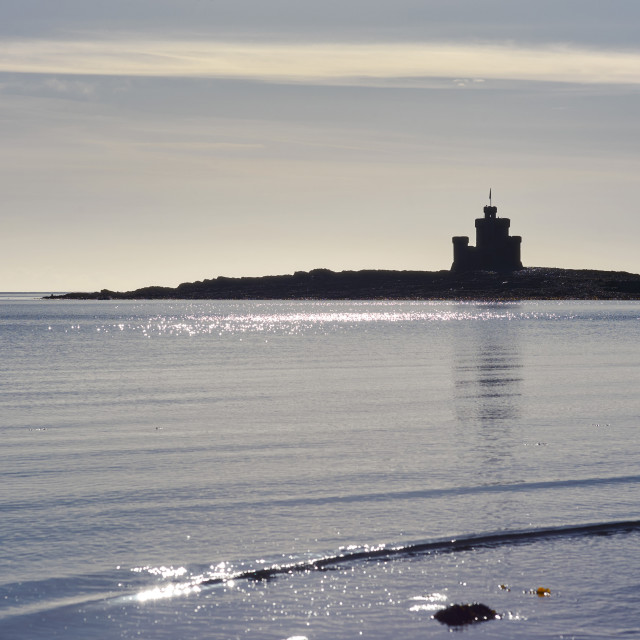 """""""The Tower of Refuge in Douglas Bay, Isle of Man at low tid"""" stock image"""