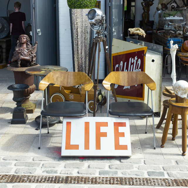 """""""Antiques on pavement in Humber Street shop, Hull"""" stock image"""