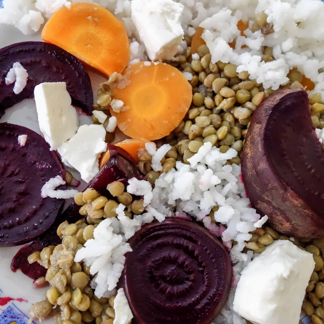 """""""Healthy Meal of Boiled Rice, Beetroot, Lentils and Carrots with Feta Cheese"""" stock image"""