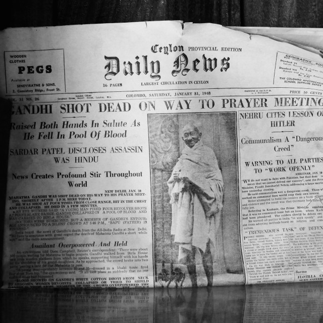 """""""B&W Ghandi assassination frontpage news in Ceylon Daily News"""" stock image"""