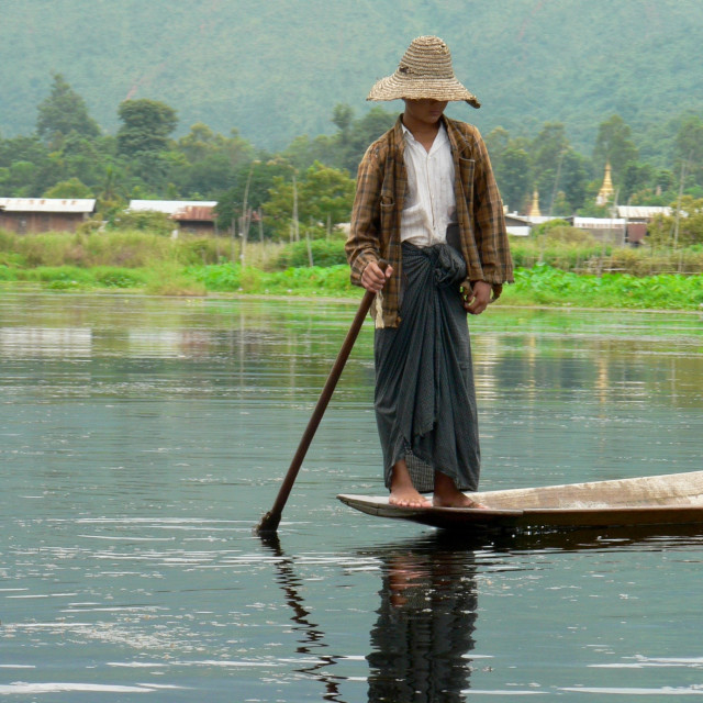 """""""Boy in hat on Inle Lake"""" stock image"""
