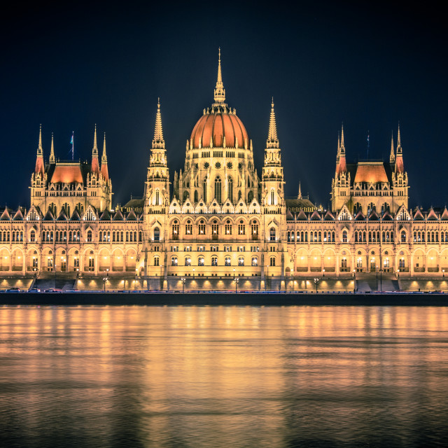 """The parliament at night"" stock image"
