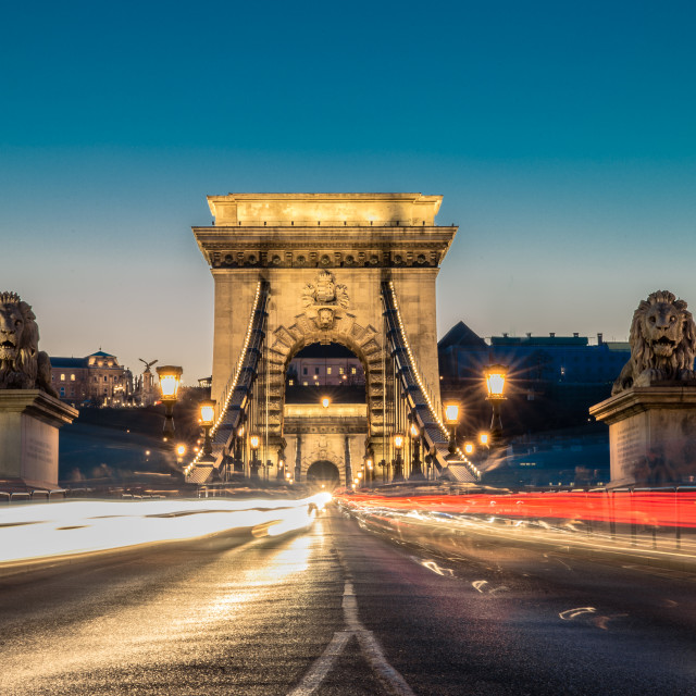 """Chain bridge at blue hour"" stock image"