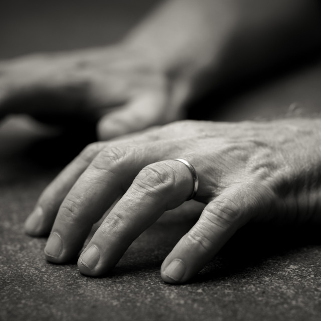 """Hands in black and white"" stock image"