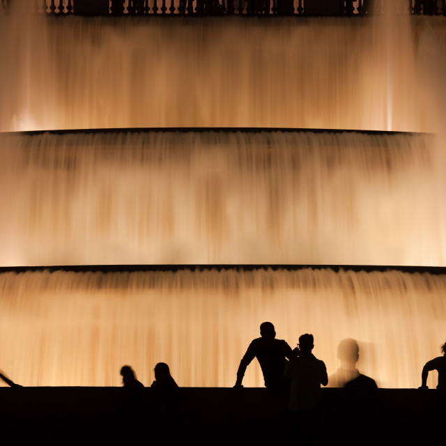 """Water Cascades Illuminated at Night in Barcelona"" stock image"