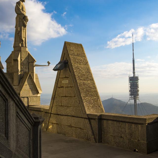 """Torre Collserola tower in Tibidabo mountain in Barcelona"" stock image"
