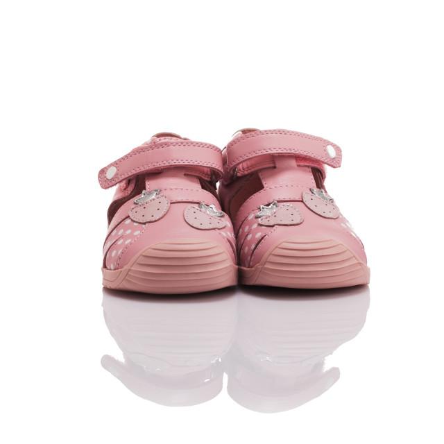 """Orthopedic leather baby girl summer sandals isolated on white"" stock image"