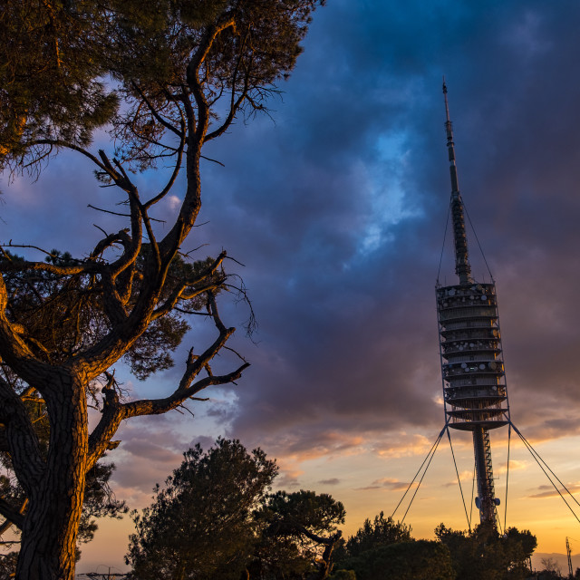 """Communications tower in Barcelona Catalonia Spain"" stock image"