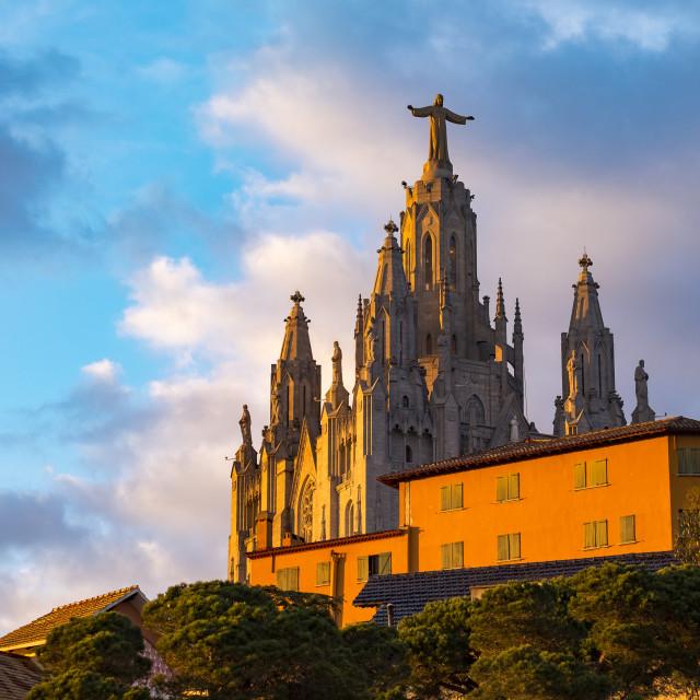 """Expiatory Church of the Sacred Heart on the Tibidabo, Barcelona,"" stock image"