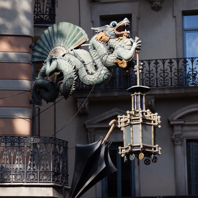 """Chinese Dragon of House of Umbrellas in Barcelona"" stock image"