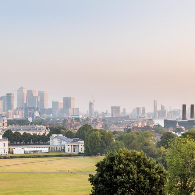 """London Skyline - Greenwich Sunrise"" stock image"