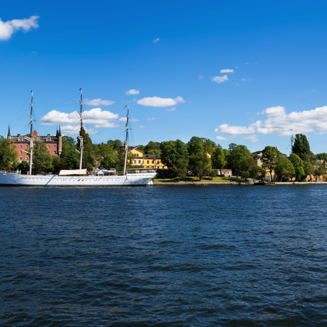 """Sailing Ship in the Harbor Stockholm Sweden Panorama"" stock image"