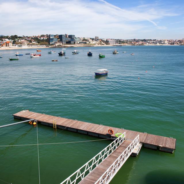 """""""Pier on the Atlantic Ocean Bay in Cascais"""" stock image"""