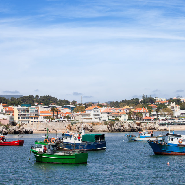 """""""Fishing Boats and Cascais Coastline in Portugal"""" stock image"""