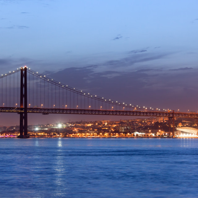 """25th of April Bridge at Night in Lisbon"" stock image"