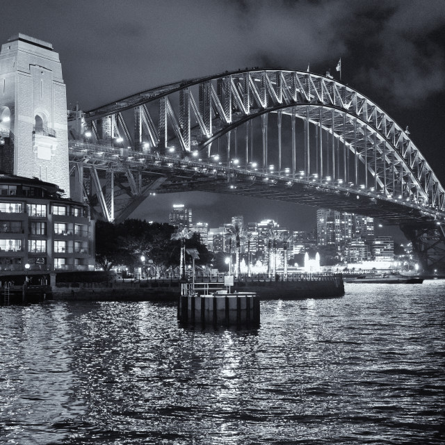"""Sydney Harbour Bridge monochrome"" stock image"