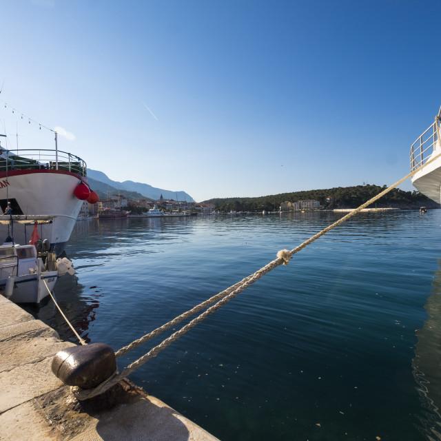 """Port of Makarska in Dalmatia Croatia"" stock image"