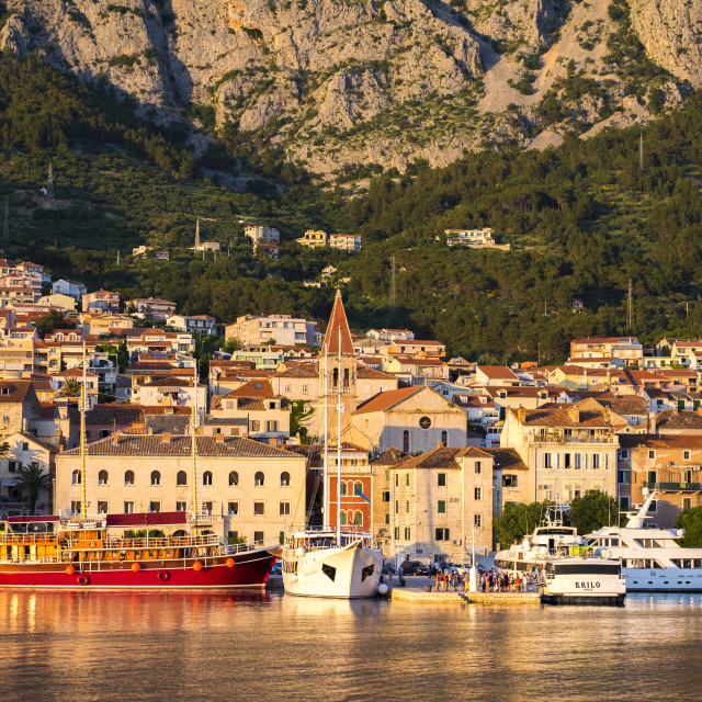"""View of Makarska at dusk, Croatia"" stock image"