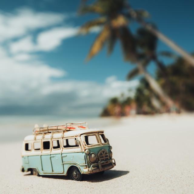"""Vintage miniature van on the tropical beach at sunrise"" stock image"