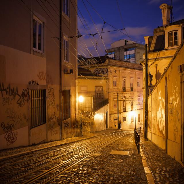"""Calcada da Gloria Street at Night in Lisbon"" stock image"