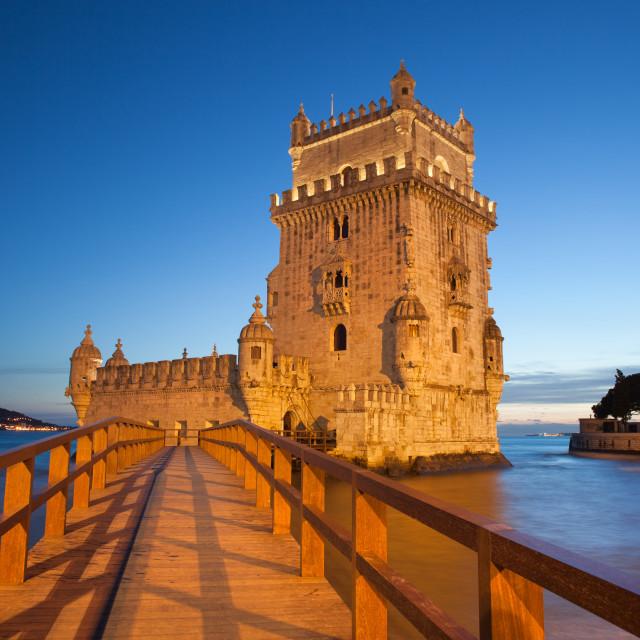 """Belem Tower in Lisbon Illuminated at Night"" stock image"
