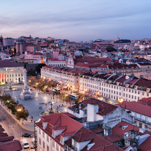 """""""View Over City of Lisbon at Dusk in Portugal"""" stock image"""