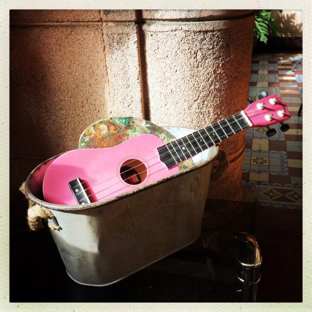 """Pink guitar"" stock image"