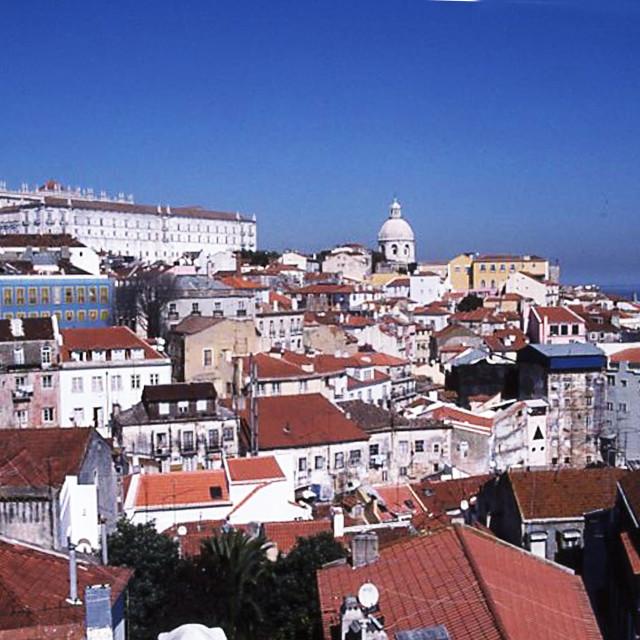 """Lisbon, Alfama district and Monastery de Sa Vicente de Fora"" stock image"